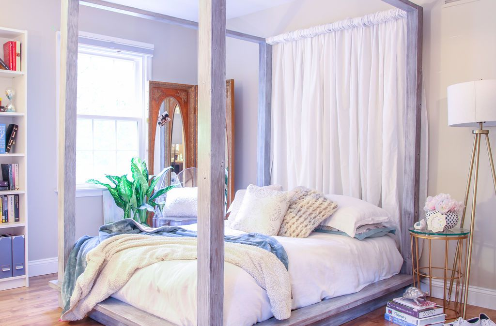 A platform bed in a bedroom