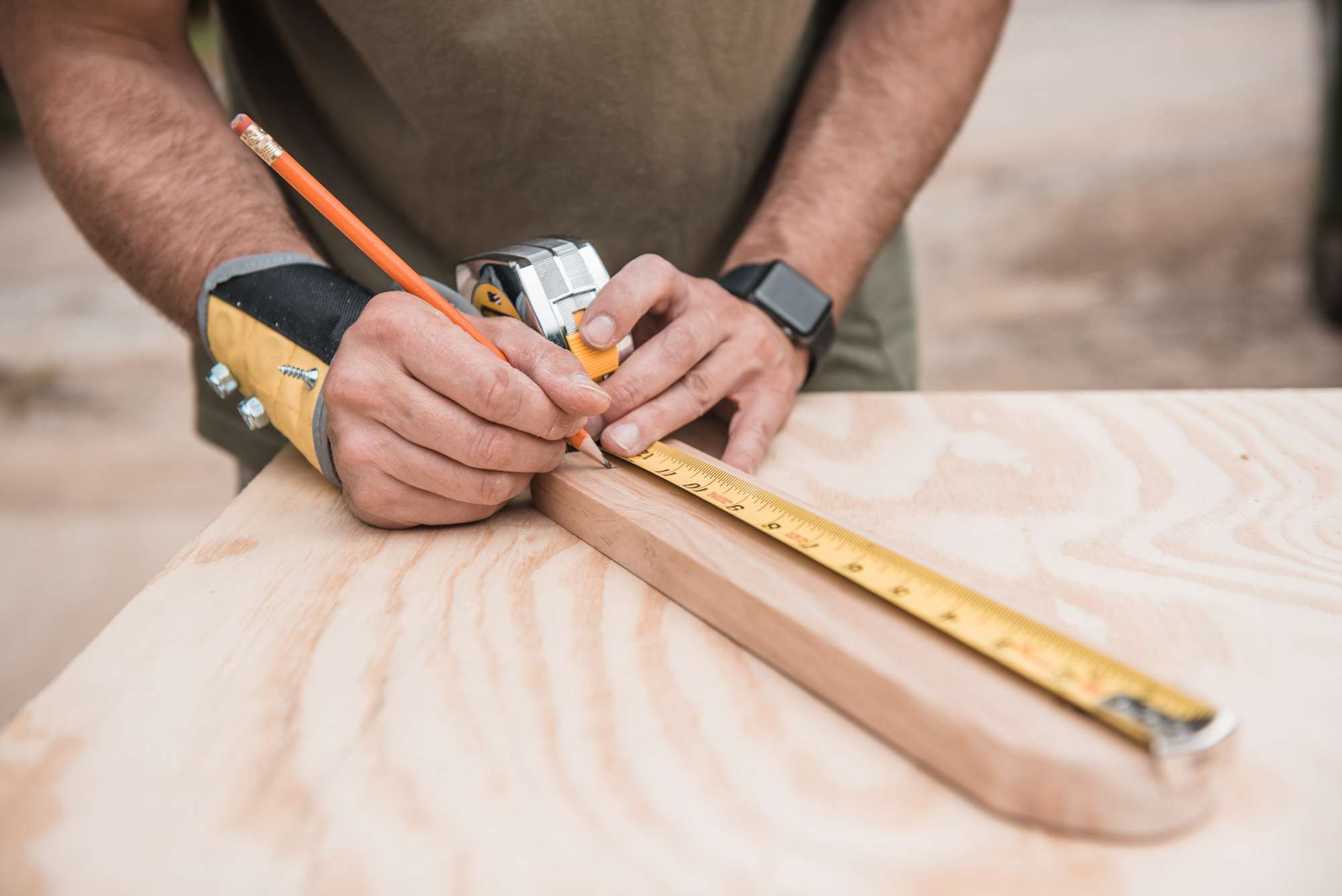 marking and cutting wood