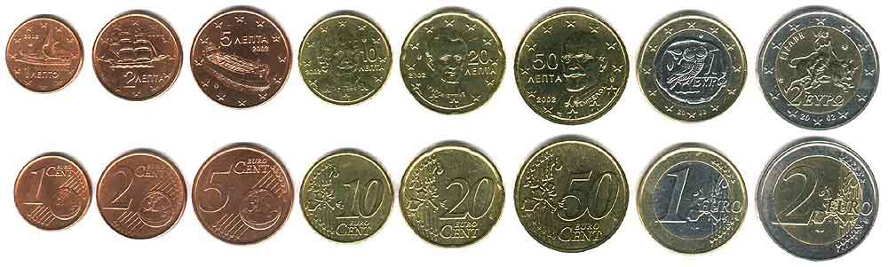 These coins are currently circulating in Greece as money.