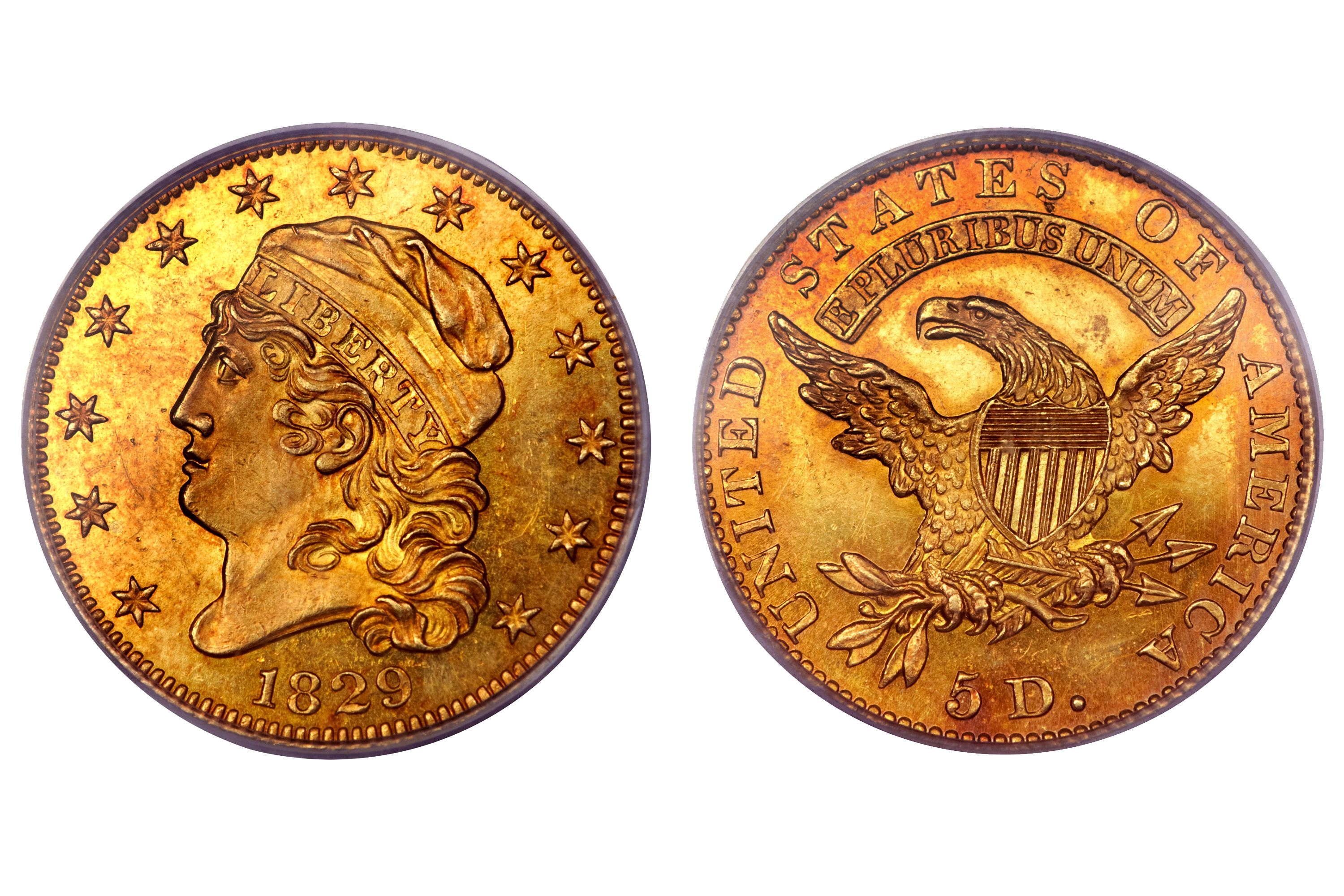 1829 Proof Capped Bust $5 Gold Half Eagle - Large Date