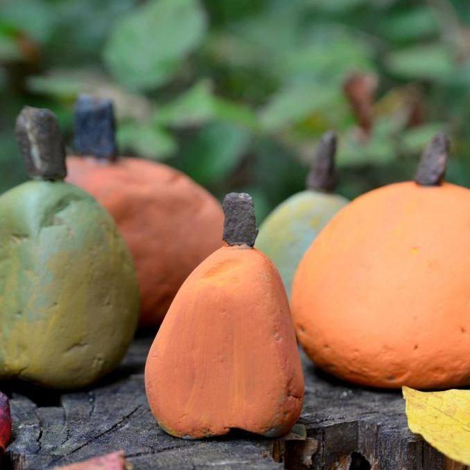 painted rock pumpkin