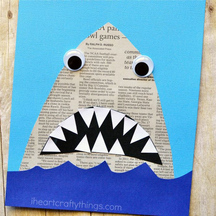 Close up of newspaper shark collage