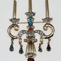 Ca. late 1940s Coro Candelabra Pin Brooch