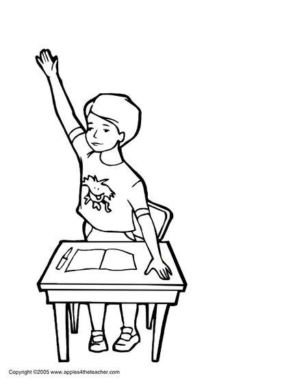 A Boy Sitting At School Desk Raising His Hand