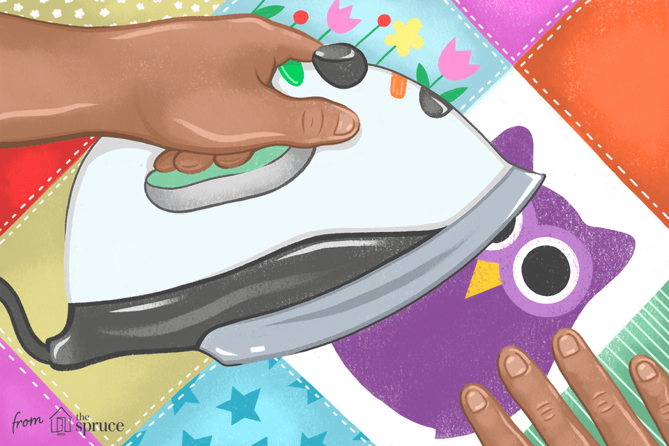 Illustration of a hand ironing an applique