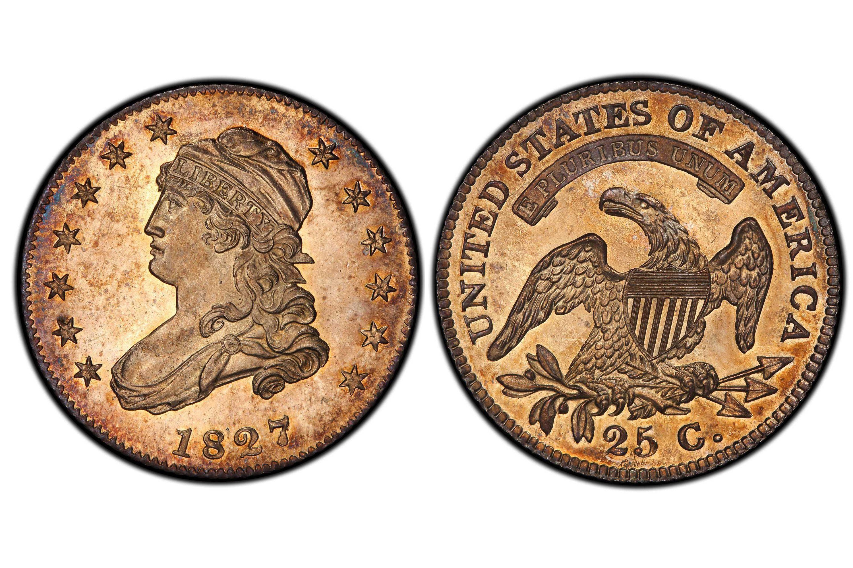 1827/3/2 Proof Capped Bust Quarter - Overdate - Original
