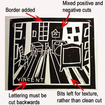 Single color lino cut print