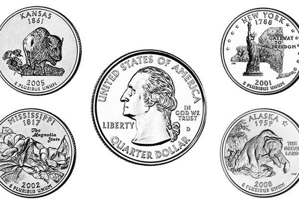 Illustrated image of five U.S. quarters.