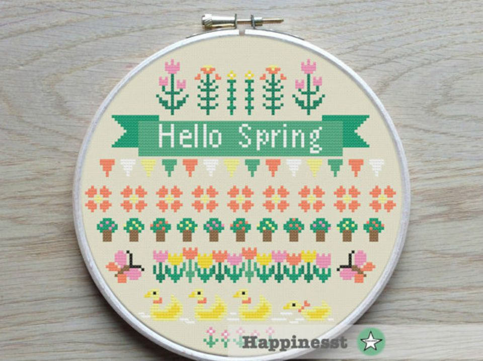 Hello spring circular counted cross-stitch design