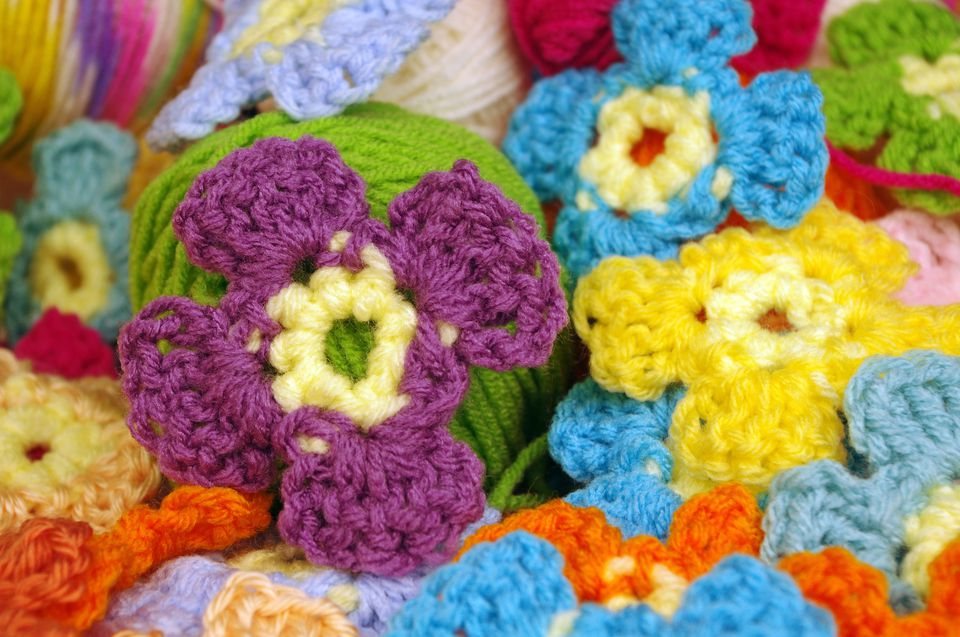 Colorful crochet flower applique