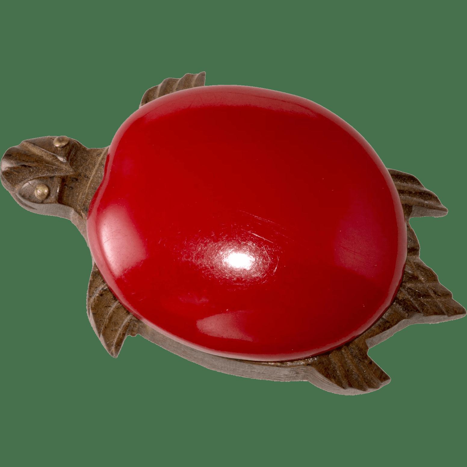 Carved Wood Turtle Dress Clip with Bakelite Back