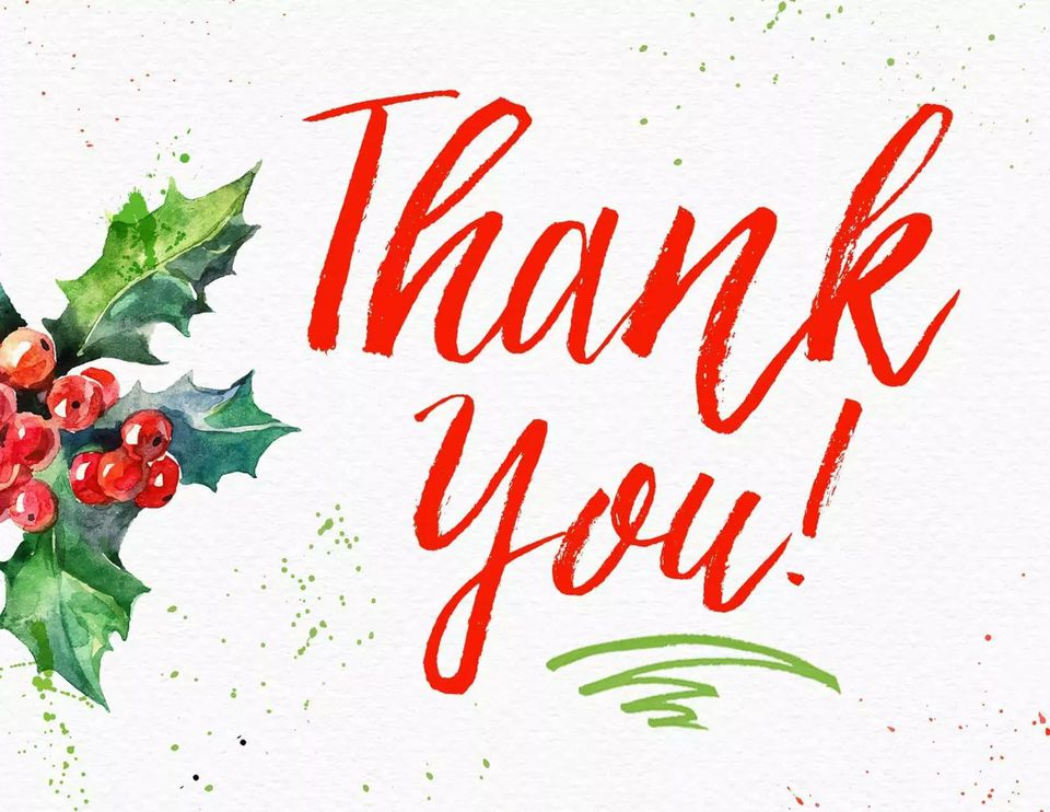 A red and green holiday thank you card