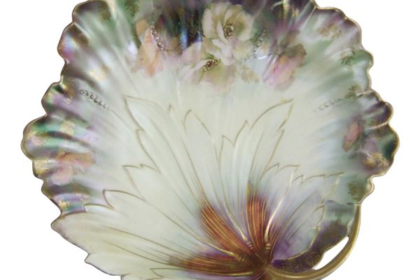 R.S. Prussia Leaf Plate with 'Tiffany' Iridescent Finish