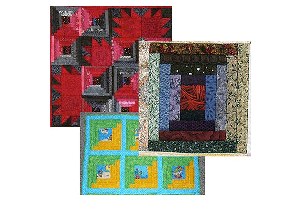 Three Log Cabin Quilt Block Layouts