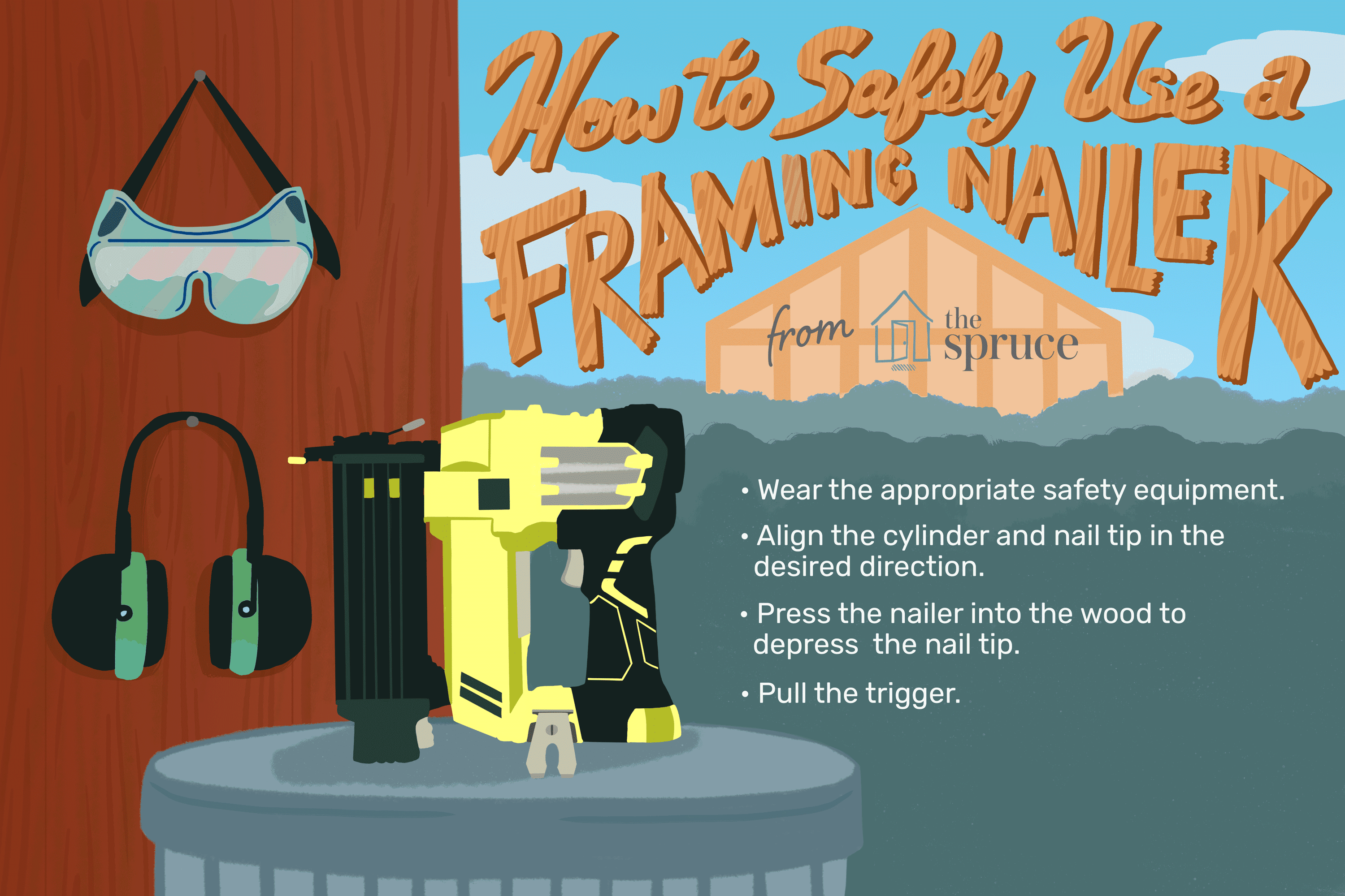 Illustration of how to use a framing nailer
