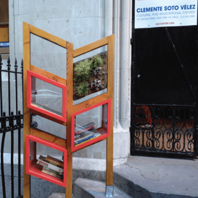Picture of a little free library on steps