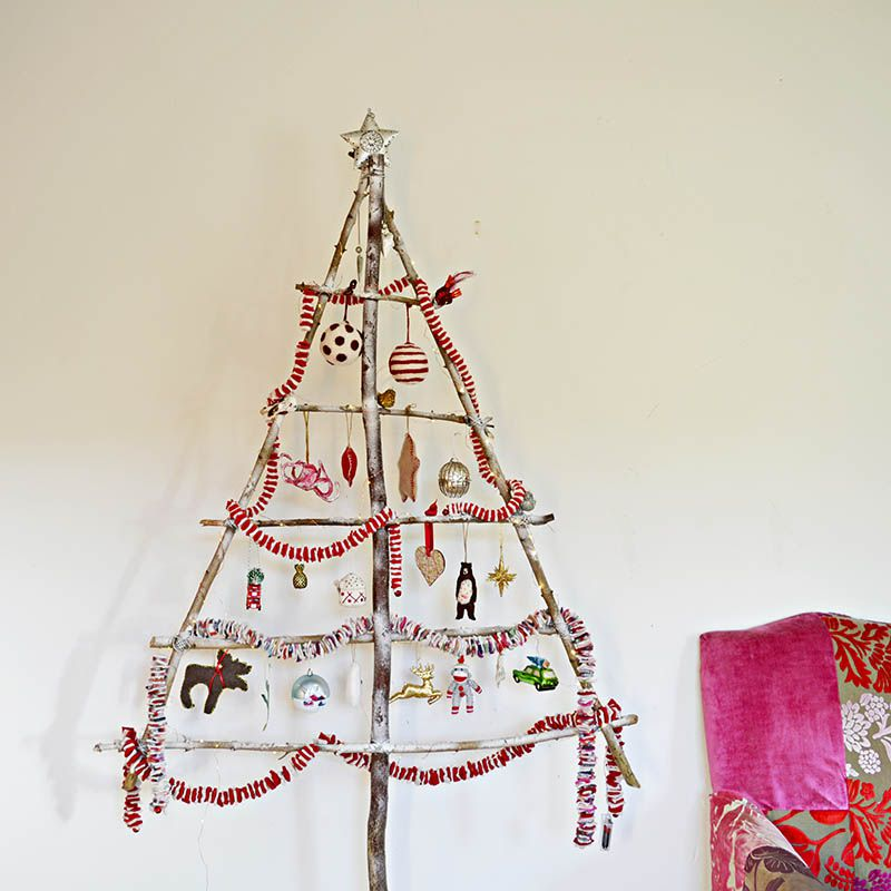 Christmas tree made from branches.