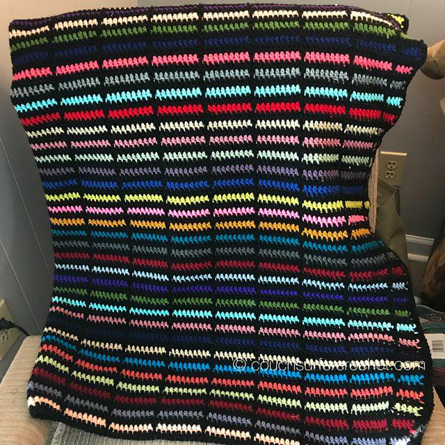Scrap Stripe Crochet Blanket Free Pattern