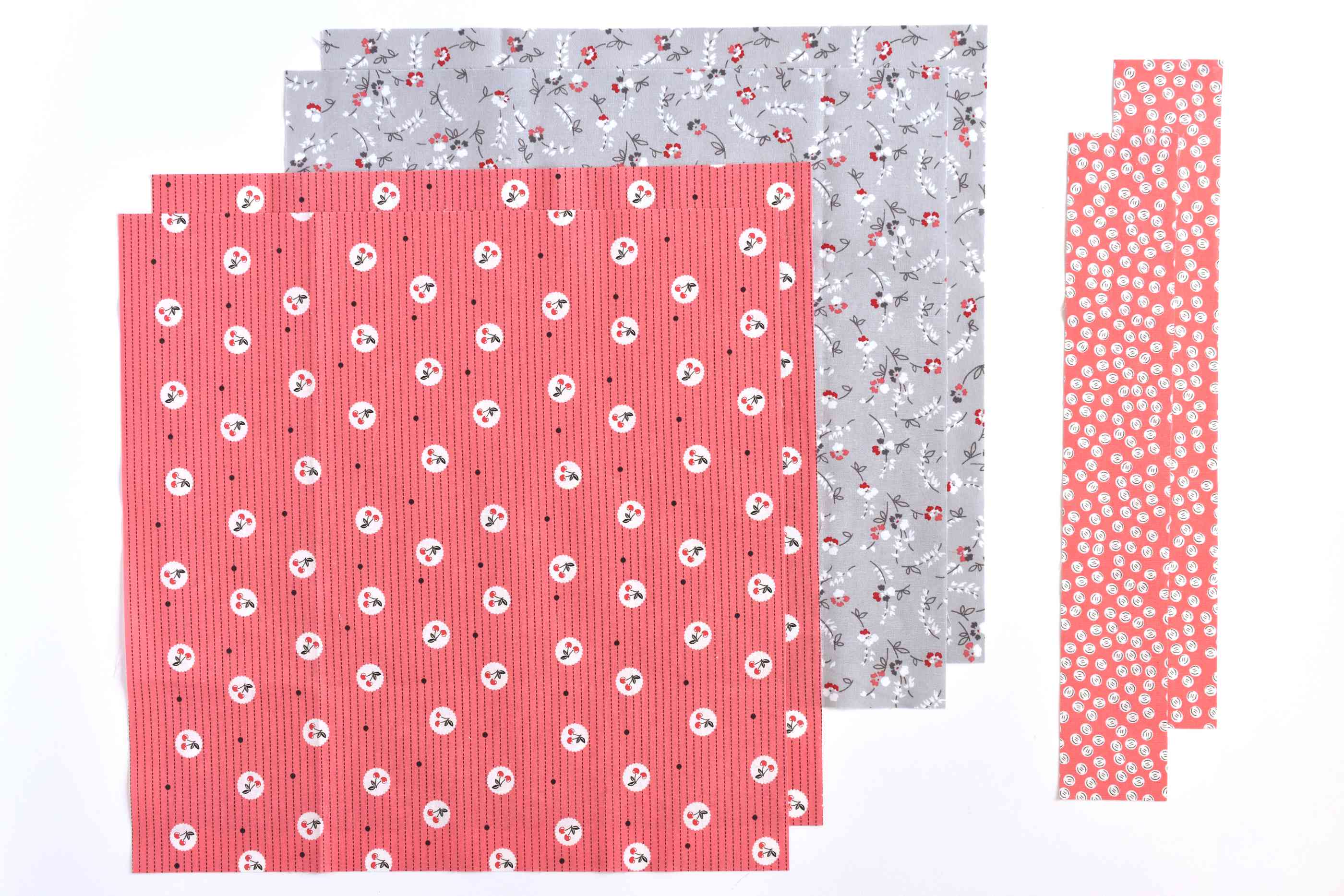 Different sizes of different patterned fabrics