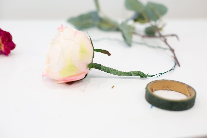 Faux flower on DIY flower crown