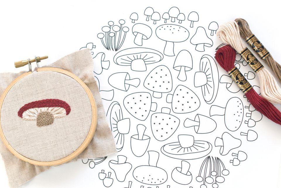 Mushroom Mosaic Embroidery Pattern