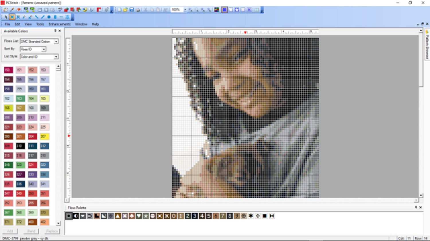 pattern-making software used to transfer photo for needlepoint