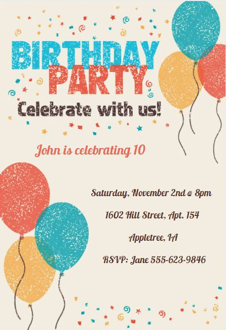 A birthday party invite with blue, yellow, and orange balloons and confetti