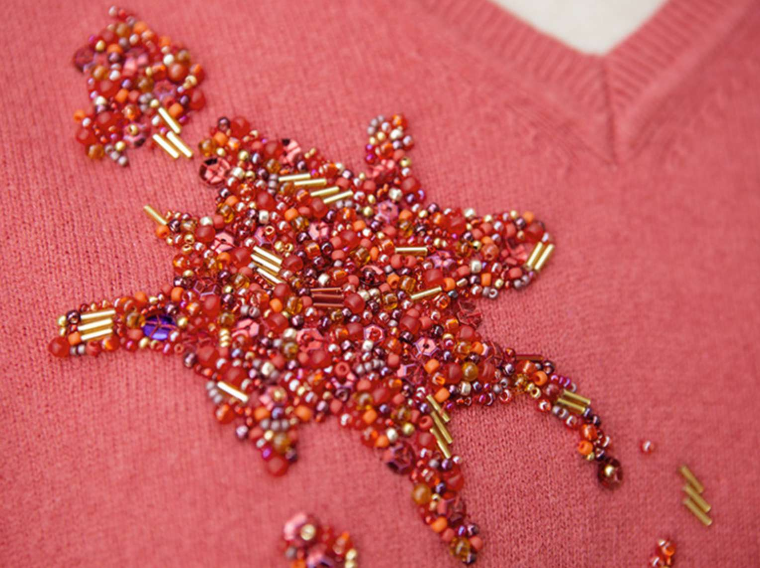 Covering a Stain With Bead Embroidery