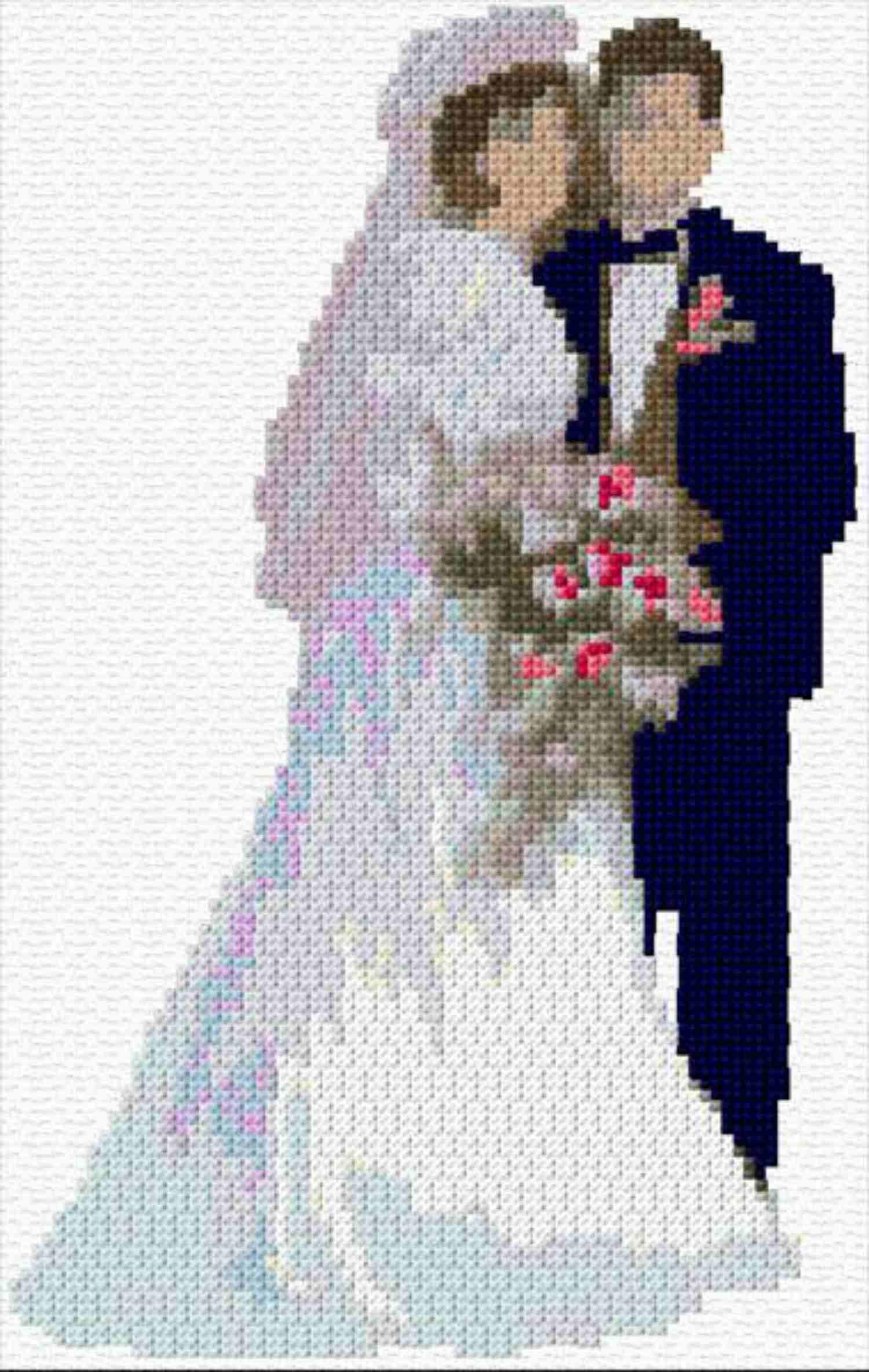happy couple cross stitch