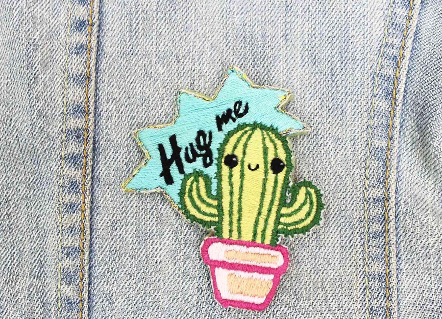 Hug Me Cactus Patch Embroidery Kit