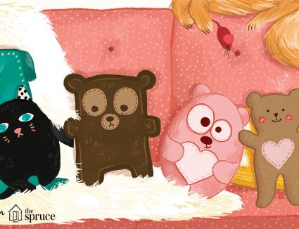 Illustration of sewn teddy bears