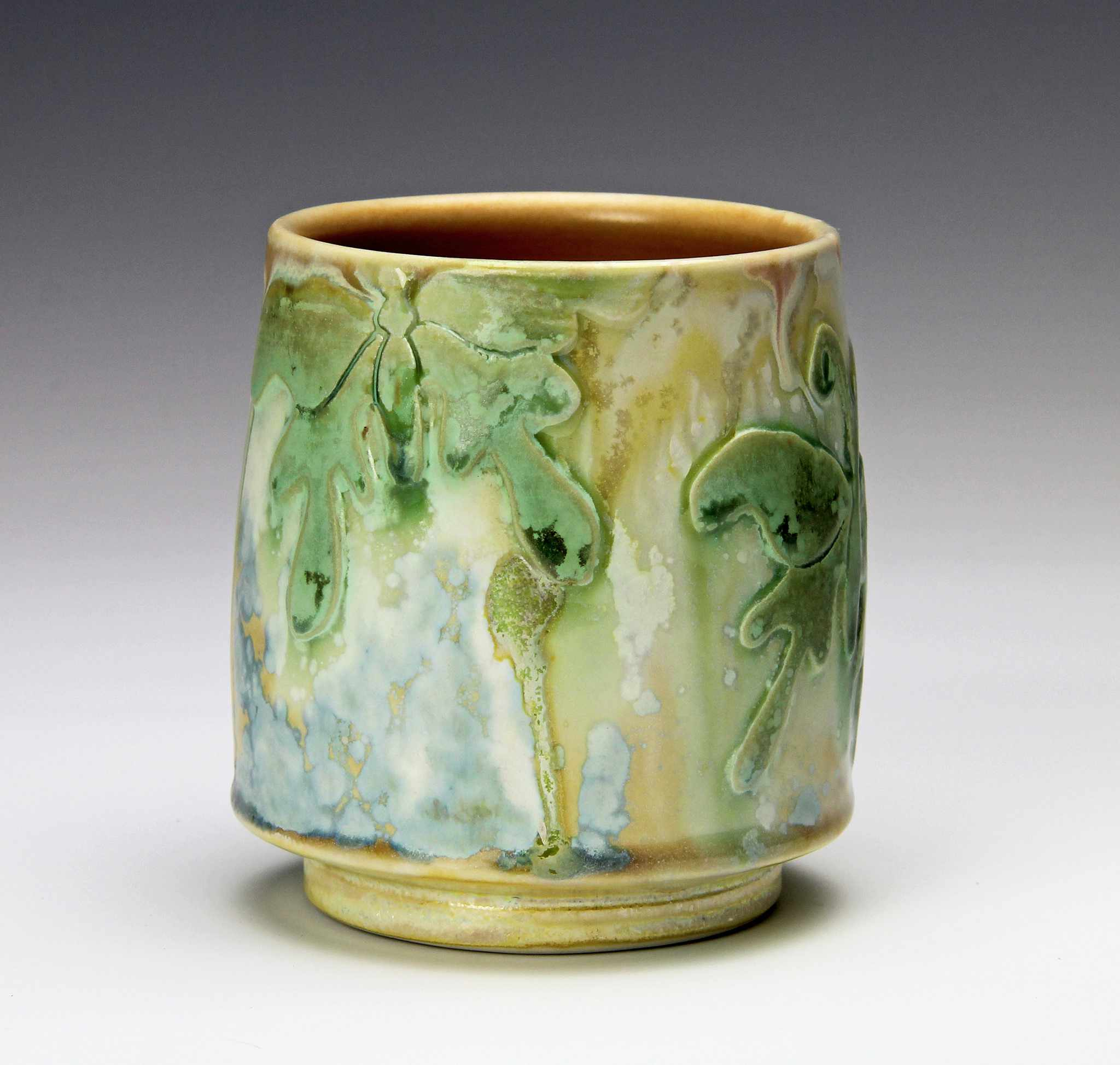 Crystalline glaze with green and blue container