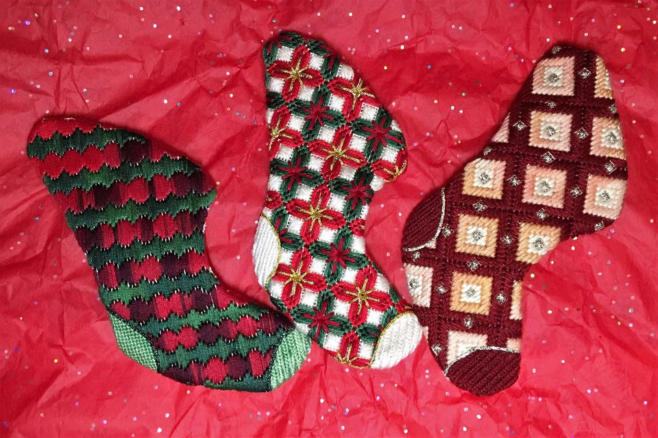 Bargello Christmas needlepoint stockings
