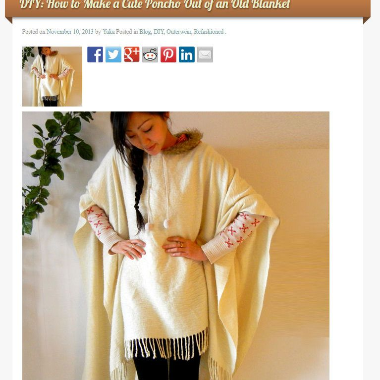 HOW TO Make a Cute Poncho Out of an Old Blanket