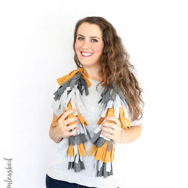 diy felt tassel scarf
