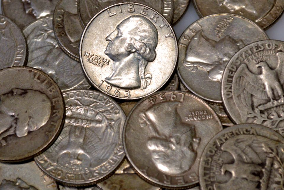 various examples of United States Washington quarters