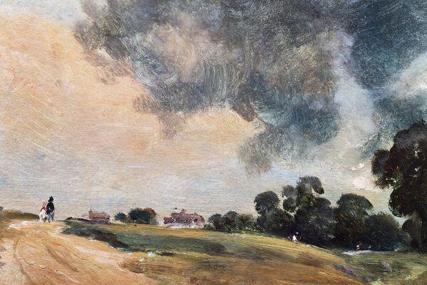Closeup of a landscape painting