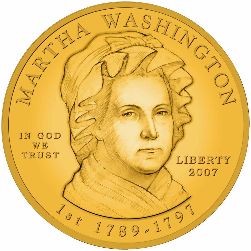 Martha Washington Gold Coin obverse - artist rendering