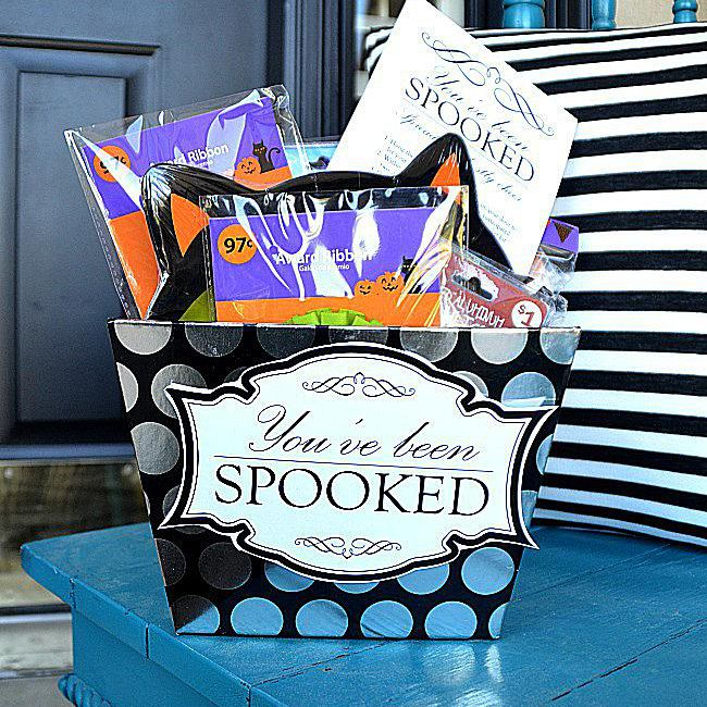 """A """"You've Been Spooked"""" basket full of treats."""