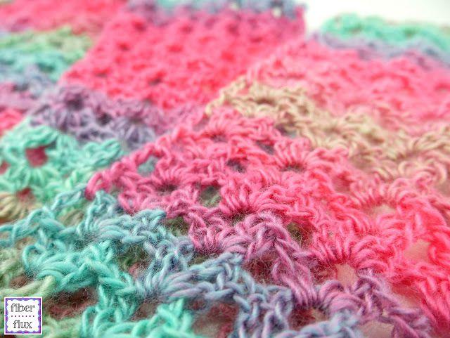 V-Stitch crochet lace scarf