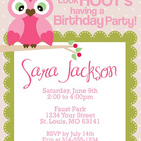 A pink owl birthday party invite
