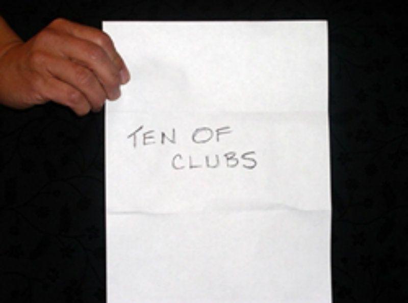 Ten of clubs written on paper