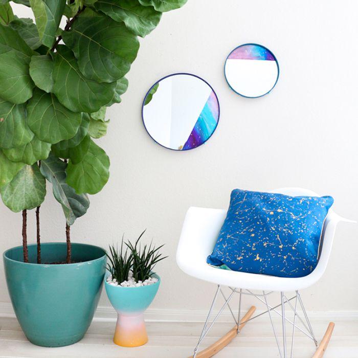 DIY Color Blocked Galaxy Mirrors
