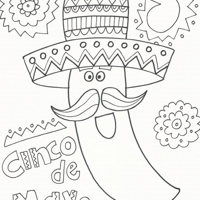Mariachi Chilli Pepper With Maracas Coloring Page Stock Vector ... | 648x648