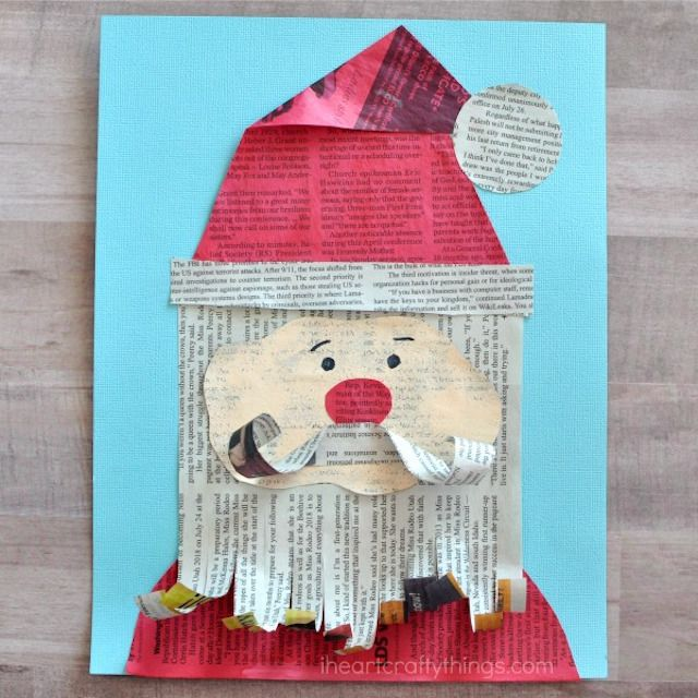 diy recycled newspaper santa craft for kids