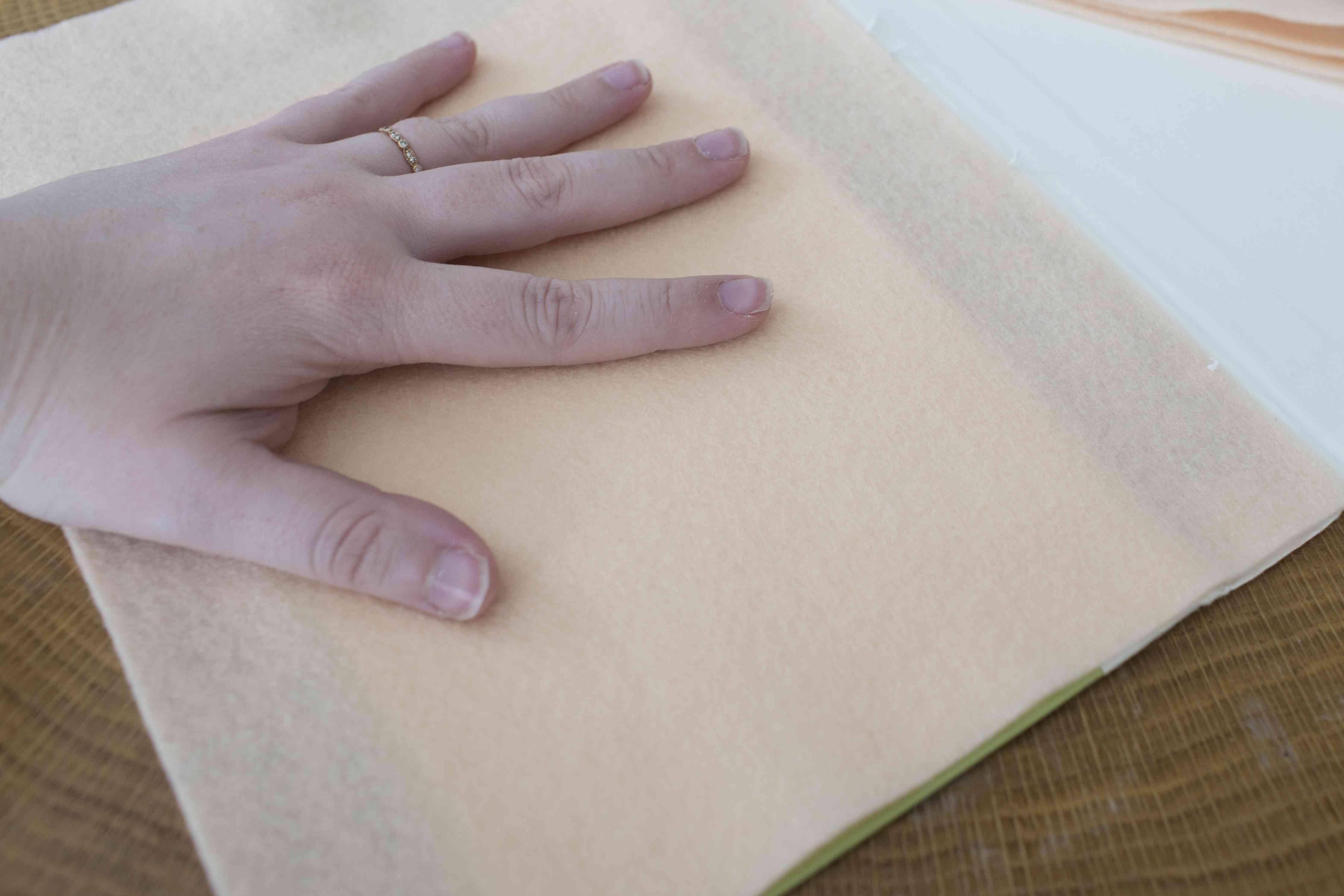 Measuring the felt for the inside cover
