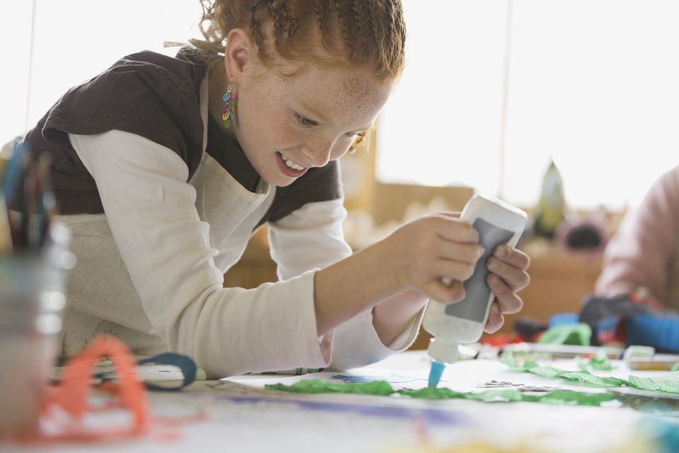 Girl working on arts and crafts