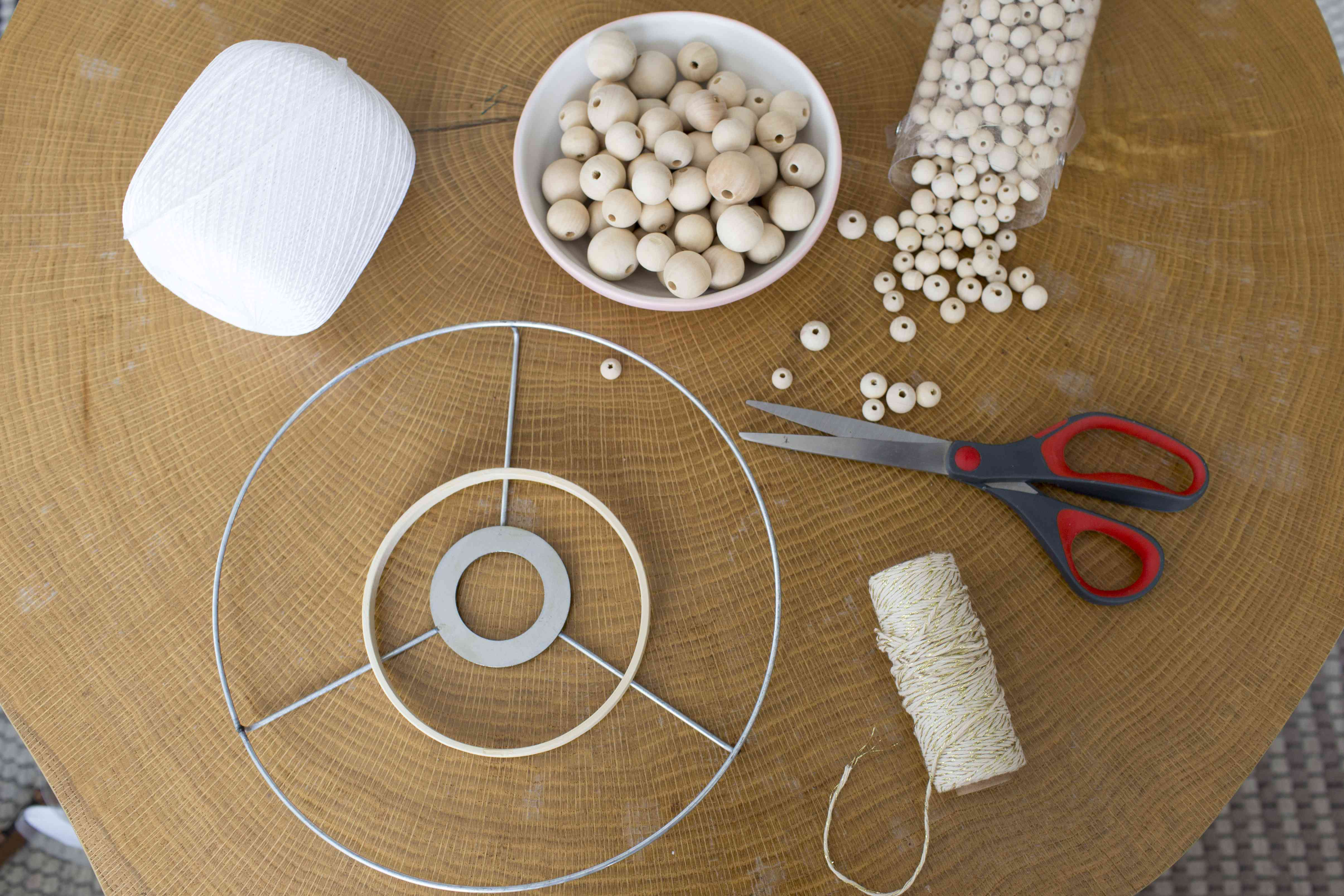 Supplies for the beaded chandelier.