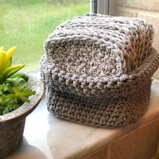 Crochet Dishcloth Basket Pattern