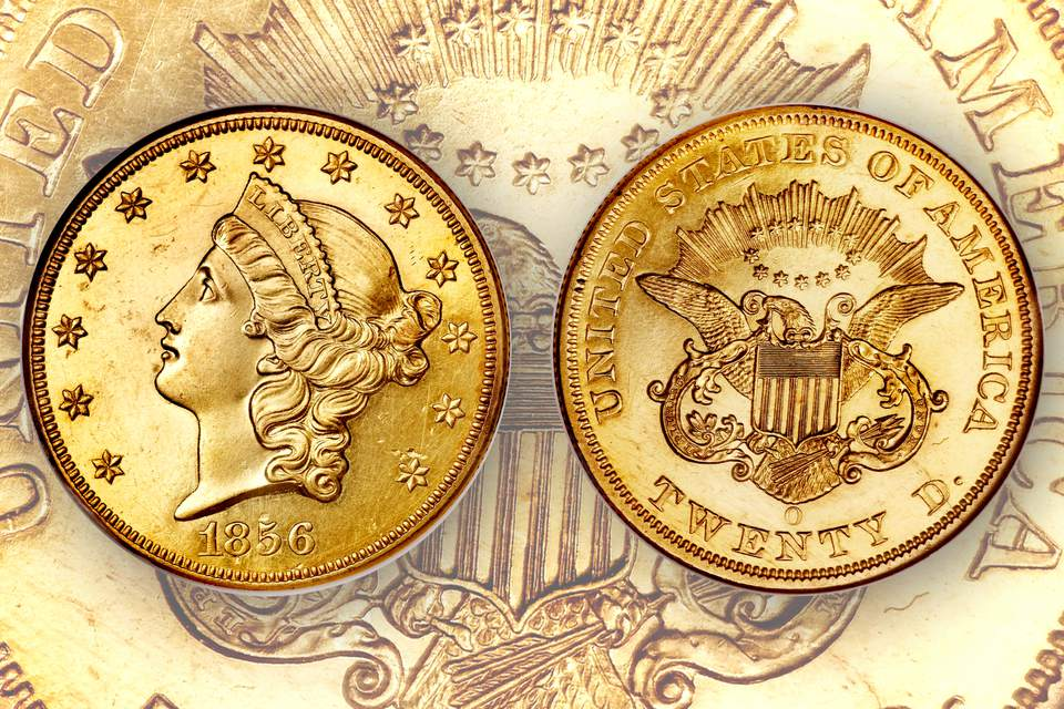 1856-o twenty dollar gold double eagle United States coin